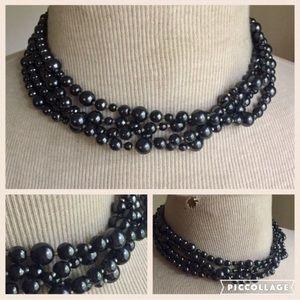 Black pearl Multi Strand Necklace Vintage